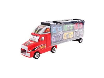 deAO Transporter-Set: Tragekoffer für Spielzeugautos im LKW-Design. Das Set beinhaltet 6 ausgewählte Autos – Farbe Rot