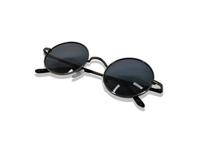 WHCREAT Uralt Retro Unisex Rund Polarisierte Sonnenbrille Federscharnier Metall Rahmen UV 400 Schutz für Männer Frauen (Spiegel Farbige Linse Verfügbar)
