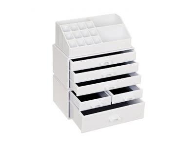 Songmics Kosmetik Organizer Make up Aufbewahrung aus Acryl besteht aus 3 Teilen mit 6 Schubladen 24 x 30 x 13,5 cm (B x H x T) milchweiß JKA009W