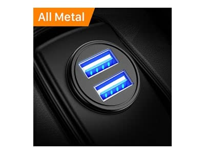 DIVI Auto Ladegerät, Mini USB Adapter KFZ Ladegerät 2-Port 4.8A, Aluminium