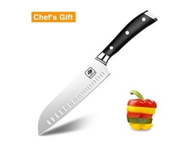 Kochmesser Santokumesser Küchenmesser 18 cm Allzweckmesser mit Ultra Scharfe Klinge Ergonomischem G10 Glasfaser-Griff