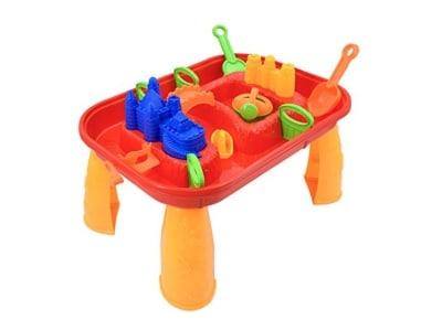 deAO Sand- und Wasserspieltisch mit Einem Wellenmachen und Deckung, 12Verschiedene Zubehörteile (Rot)
