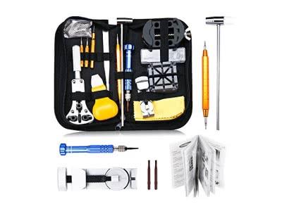Uhrenwerkzeug Set 147tlg Baban Uhrmacherwerkzeug Uhr Werkzeug Tasche Reparatur Watch Tools in schwarze Nylontasche Upgrade-Version Reparaturwerkzeug für Die Meisten Uhren Geeignet