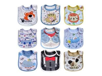 Haimoburg 9 Pack Wasserdicht Babylätzchen Baumwolle Klettverschluss (Jungen 9 Pack)