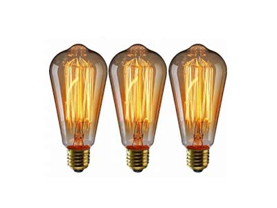 Edison Glühbirne Vintage ST64 E27 Retro Glühlampe 40W,220V-230V, Warmweiß, Industriel Design für jeder Nostalgie Raum,3ER