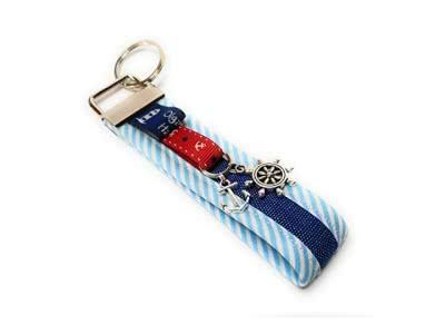 Schlüsselanhänger Handtaschenanhänger Sylt aus Stoff mit Steuerrad und Anker, Handgemacht Handmade, Geschenk Geburtstag