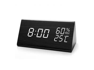 HAVIT LED Digitaler Wecker mit Datum/Woche/Temperatur/Feuchtigkeit, 12/24H und 3 Einstellbare Helligkeit, Modern Holz Tischuhr mit 3 Weckzeiten (Schwarz) …