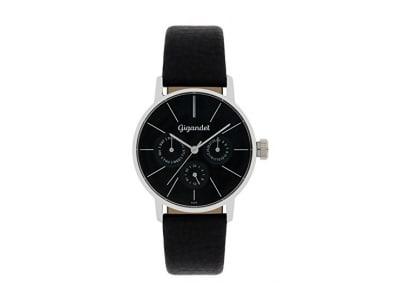 Gigandet Damen-Armbanduhr Multifunktion Quarz Analog mit Lederarmband schwarz G38-002