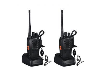 ICOCO wiederaufladbare Walkie Talkie FM Transceiver 400-470MHz Taschenlampe 5W mit Headset